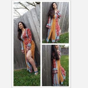 Love Riche Multicolor Side Slit Boho Maxi Dress